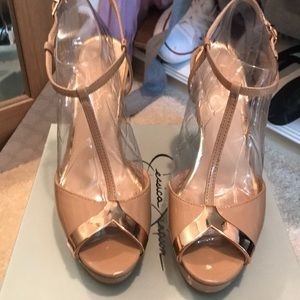 nude patent leather heels with rose gold accent